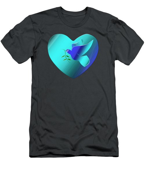 Dove Of The Blue Sky Heart Men's T-Shirt (Athletic Fit)
