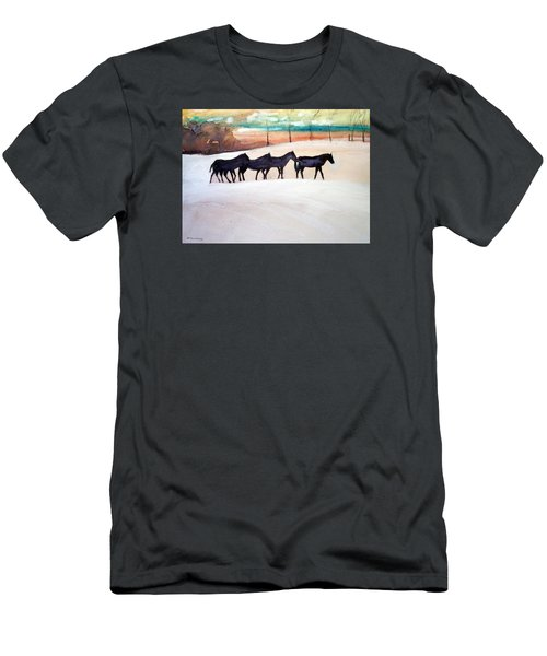 Men's T-Shirt (Slim Fit) featuring the painting Downs Stables by Ed Heaton