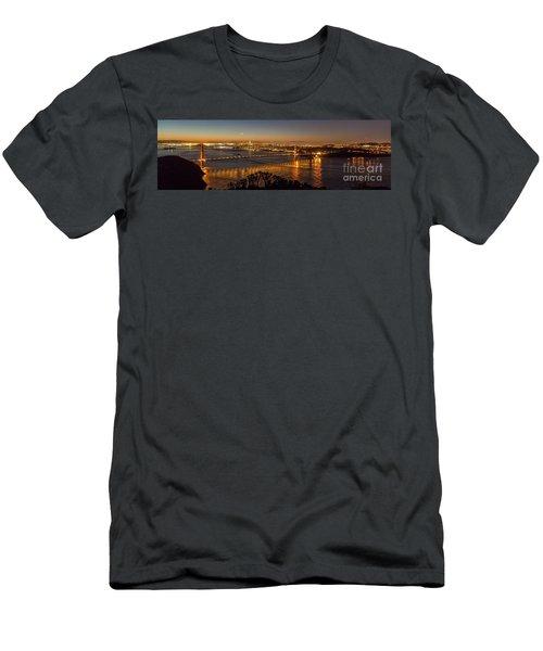 Downtown San Francisco And Golden Gate Bridge Just Before Sunris Men's T-Shirt (Athletic Fit)