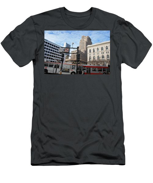 Downtown San Francisco - Market Street Buses Men's T-Shirt (Slim Fit) by Matt Harang