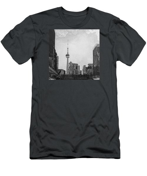Downtown Toronto In Bw Men's T-Shirt (Athletic Fit)