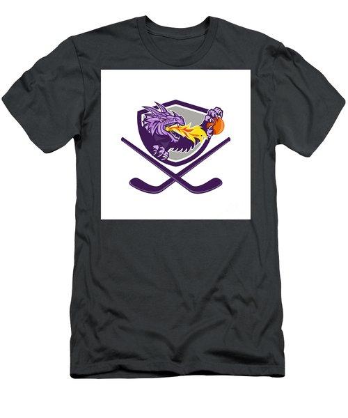 Dragon Fire Ball Hockey Stick Crest Retro Men's T-Shirt (Athletic Fit)