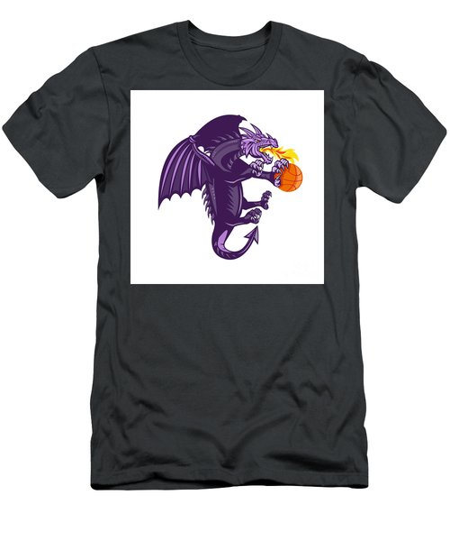 Dragon Fire Holding Basketball Isolated Retro Men's T-Shirt (Athletic Fit)