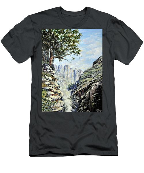 Men's T-Shirt (Slim Fit) featuring the painting Drakensberg by Heidi Kriel