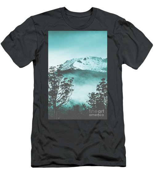 Dramatic Dark Blue Mountain With Snow And Fog Men's T-Shirt (Athletic Fit)
