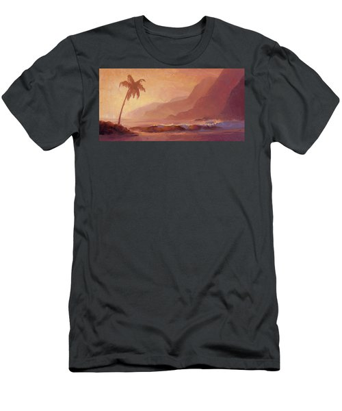 Men's T-Shirt (Slim Fit) featuring the painting Dreams Of Hawaii - Tropical Beach Sunset Paradise Landscape Painting by Karen Whitworth