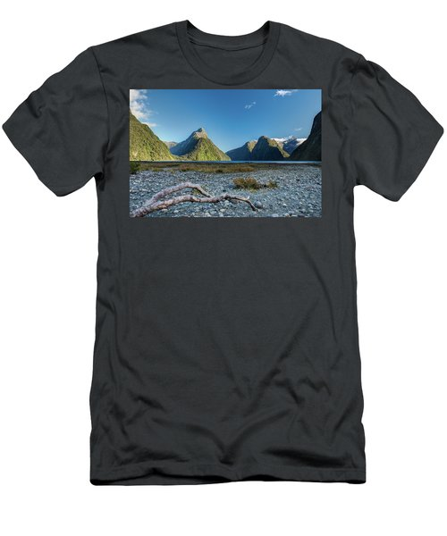 Men's T-Shirt (Athletic Fit) featuring the photograph Driftwood In Milford Sound by Gary Eason