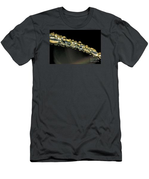 Men's T-Shirt (Slim Fit) featuring the photograph Drops On The Green Grass by Odon Czintos
