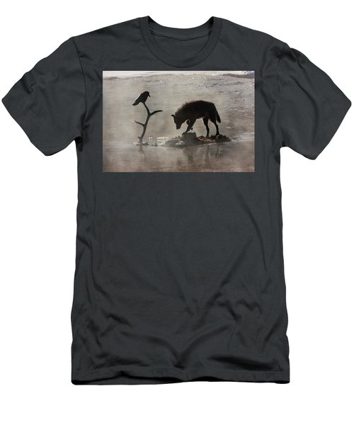 Druid Wolf And Raven Silhouette Men's T-Shirt (Athletic Fit)