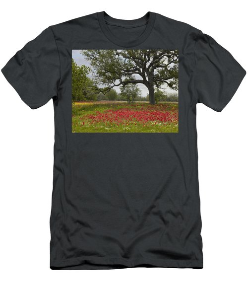 Men's T-Shirt (Athletic Fit) featuring the photograph Drummonds Phlox Meadow Near Leming Texas by Tim Fitzharris
