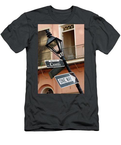 Men's T-Shirt (Athletic Fit) featuring the photograph Drunk Street Sign French Quarter by KG Thienemann