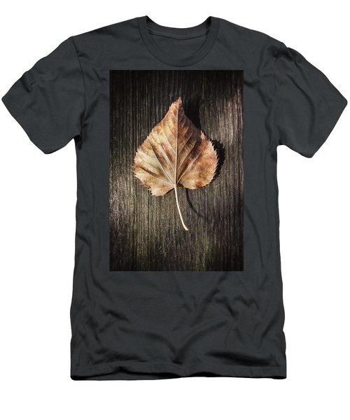 Dry Leaf On Wood Men's T-Shirt (Athletic Fit)