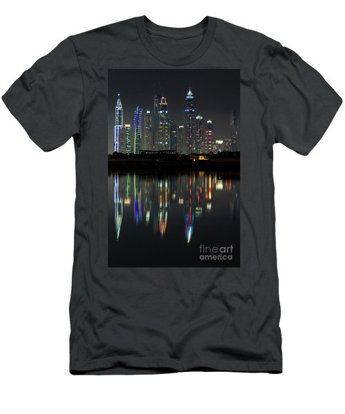 Dubai City Skyline Nighttime  Men's T-Shirt (Athletic Fit)