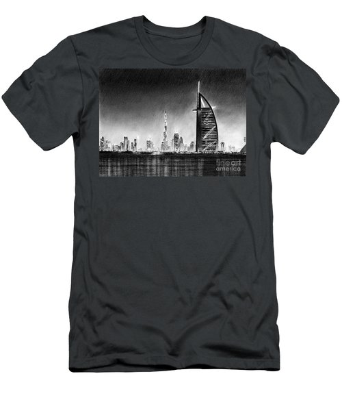 Dubai Cityscape Drawing Men's T-Shirt (Athletic Fit)