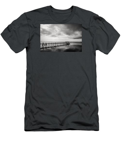 Duck Pier In Black And White Men's T-Shirt (Athletic Fit)