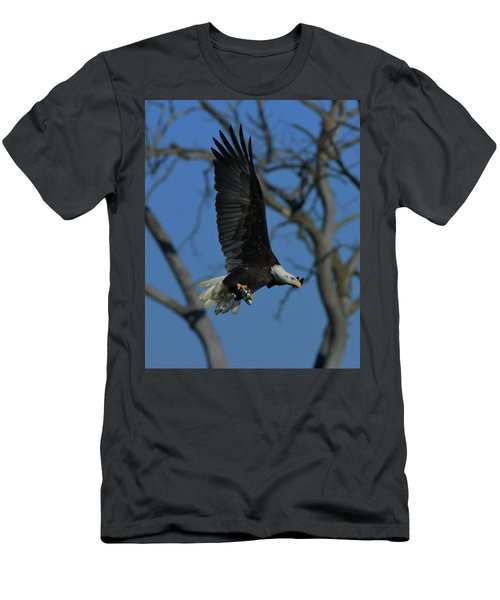 Men's T-Shirt (Slim Fit) featuring the photograph Eagle With Fish by Coby Cooper