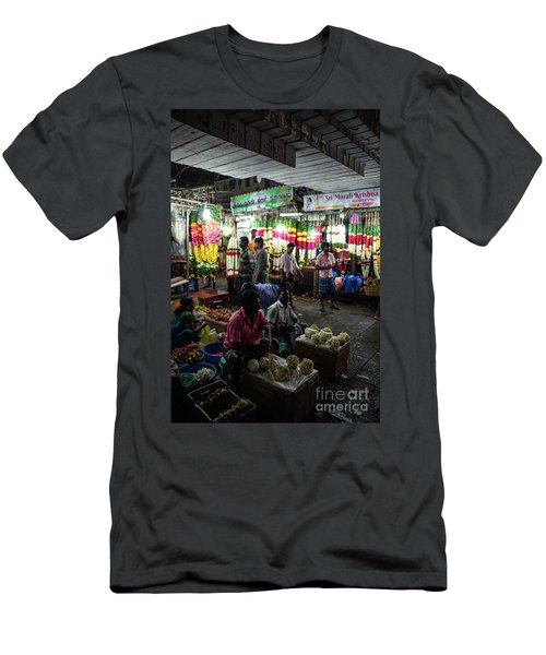Men's T-Shirt (Slim Fit) featuring the photograph Early Morning Koyambedu Flower Market India by Mike Reid
