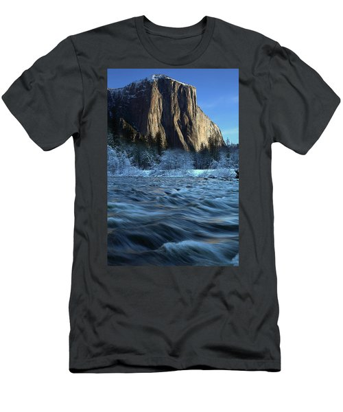 Early Morning Light On El Capitan During Winter At Yosemite National Park Men's T-Shirt (Athletic Fit)