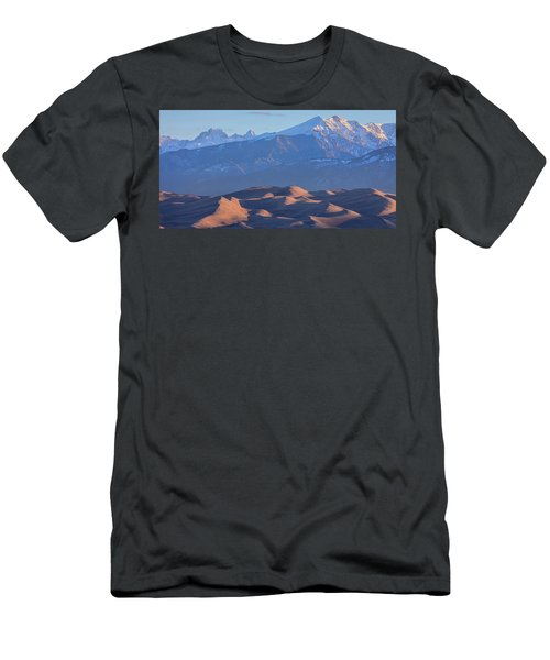 Early Morning Sand Dunes And Snow Covered Peaks Men's T-Shirt (Slim Fit) by James BO Insogna