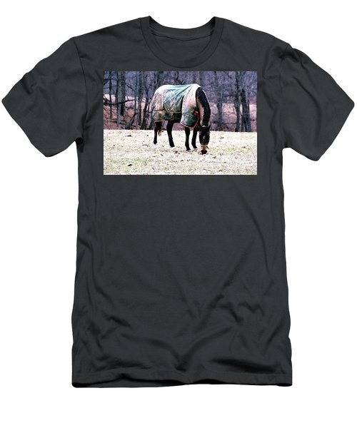 Men's T-Shirt (Slim Fit) featuring the photograph Eatin' Snowy Grass by Polly Peacock