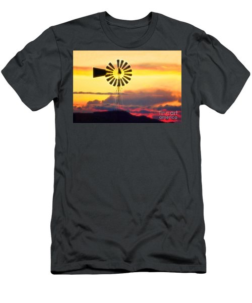 Eclipse Windmill In The Sunset Clouds Men's T-Shirt (Slim Fit) by Wernher Krutein