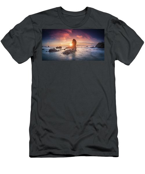Men's T-Shirt (Athletic Fit) featuring the photograph Ecola State Park Beach Sunset Pano by William Lee