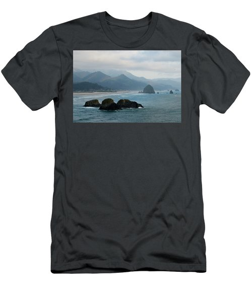 Ecola State Park View Of Haystack Rock And 3 Arch Rocks Men's T-Shirt (Athletic Fit)