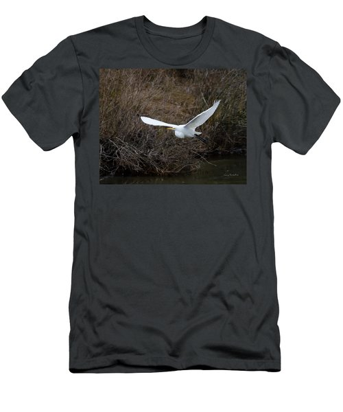 Men's T-Shirt (Slim Fit) featuring the photograph Egret In Flight by George Randy Bass