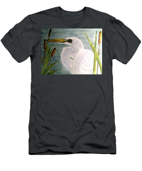Egret In The Cattails Men's T-Shirt (Slim Fit) by Carol Grimes