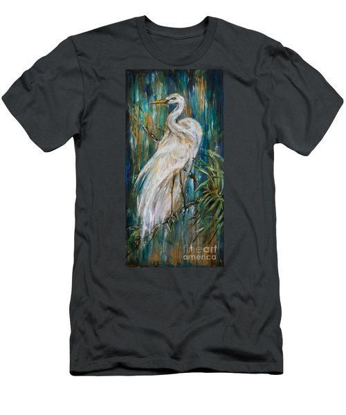 Egret Near Waterfall Men's T-Shirt (Athletic Fit)