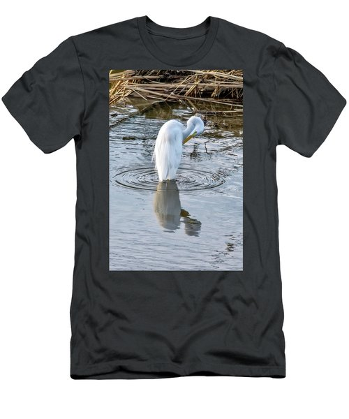 Egret Standing In A Stream Preening Men's T-Shirt (Athletic Fit)