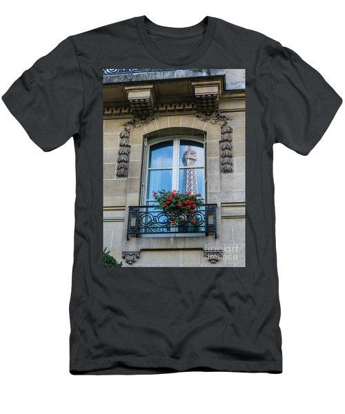 Eiffel Tower Paris Apartment Reflection Men's T-Shirt (Slim Fit) by Mike Reid