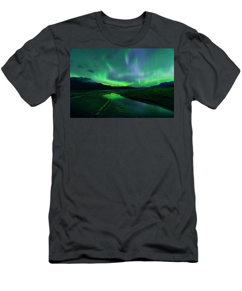 Men's T-Shirt (Slim Fit) featuring the photograph Electric Skies Over Jasper National Park by Dan Jurak