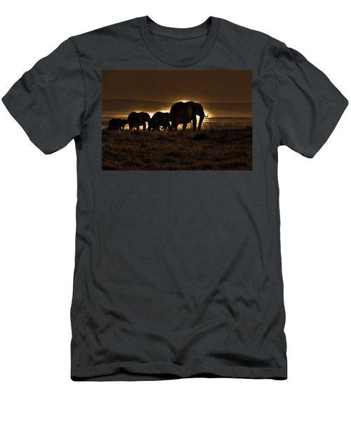 Elephant Herd On The Masai Mara Men's T-Shirt (Athletic Fit)