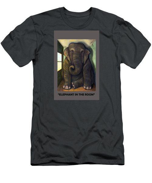 Elephant In The Room With Lettering Men's T-Shirt (Athletic Fit)