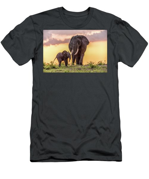 Men's T-Shirt (Slim Fit) featuring the photograph Elephants At Sunset by Janis Knight