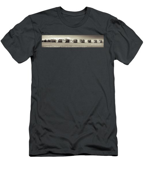 Men's T-Shirt (Slim Fit) featuring the photograph Eleven In A Row - Officer's Row - Monotone by Colleen Kammerer
