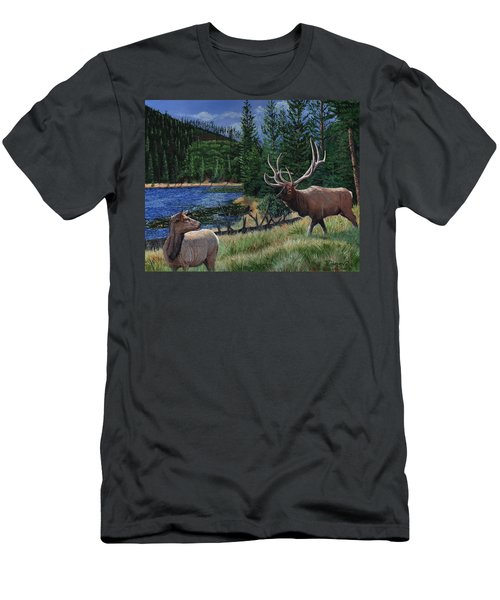 Elk At Beaver Lake  Yellowstone Men's T-Shirt (Athletic Fit)