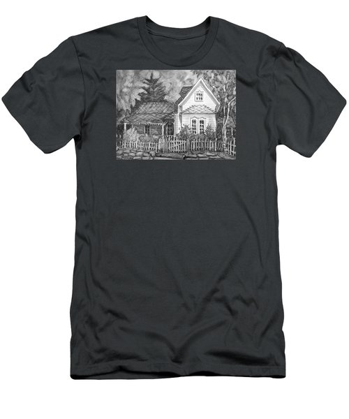 Men's T-Shirt (Slim Fit) featuring the painting Elma's House In Bw by Gretchen Allen