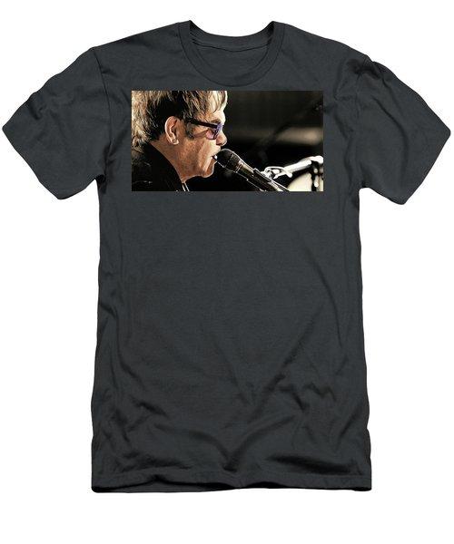 Elton John At The Mic Men's T-Shirt (Slim Fit) by Elaine Plesser