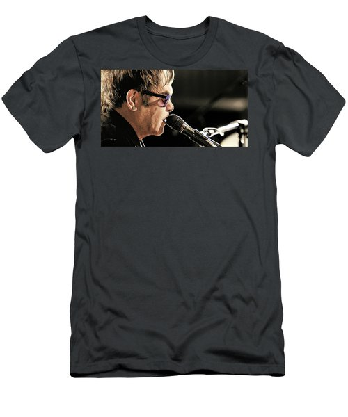 Elton John At The Mic Men's T-Shirt (Athletic Fit)