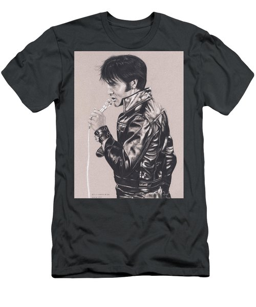 Elvis In Charcoal #177, No Title Men's T-Shirt (Athletic Fit)