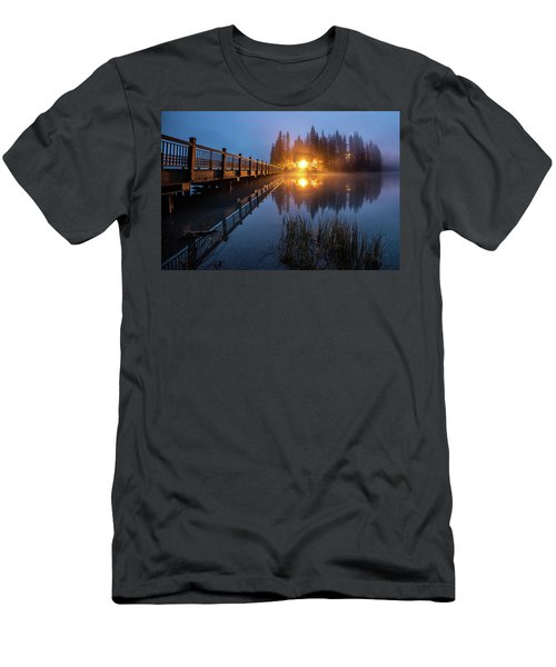 Men's T-Shirt (Athletic Fit) featuring the photograph Emerald Lake Lodge In The Twilight Fog by Pierre Leclerc Photography