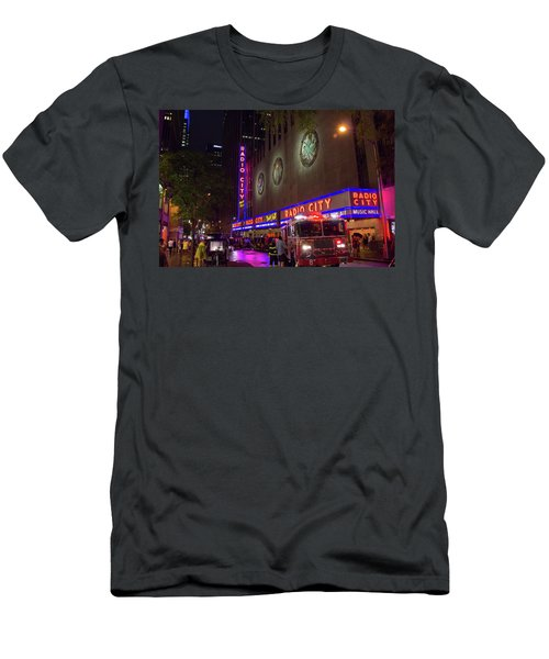 Men's T-Shirt (Athletic Fit) featuring the photograph Emergency At Radio City by RKAB Works