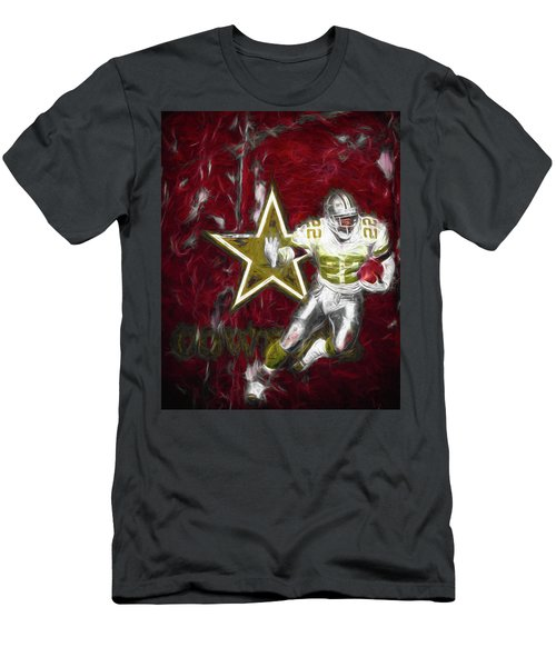 Men's T-Shirt (Slim Fit) featuring the photograph Emmitt Smith Nfl Dallas Cowboys Gold Digital Painting 22 by David Haskett