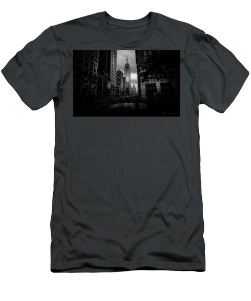 Men's T-Shirt (Slim Fit) featuring the photograph Empire State Building Bw by Marvin Spates