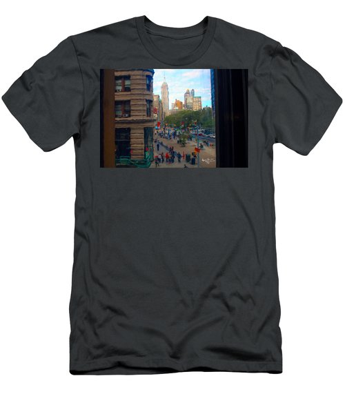 Men's T-Shirt (Slim Fit) featuring the photograph Empire State Building - Crackled View 2 by Madeline Ellis