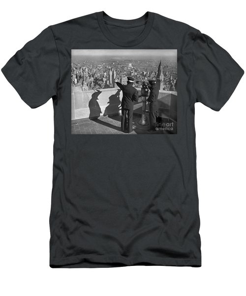 Men's T-Shirt (Slim Fit) featuring the photograph Empire State Lookout 1947 by Martin Konopacki Restoration
