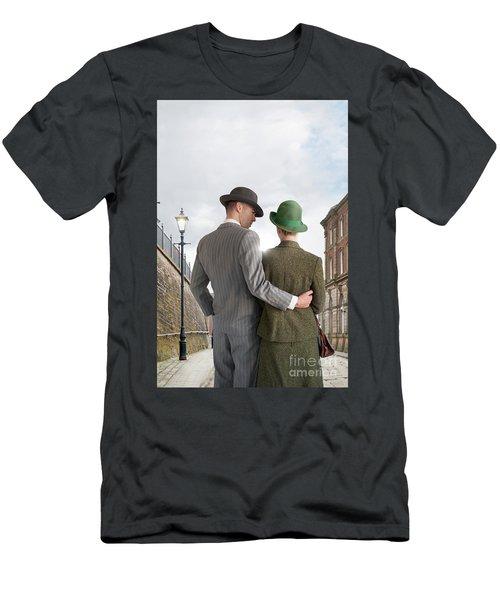 Empty Street With Victorian Buildings Men's T-Shirt (Slim Fit) by Lee Avison
