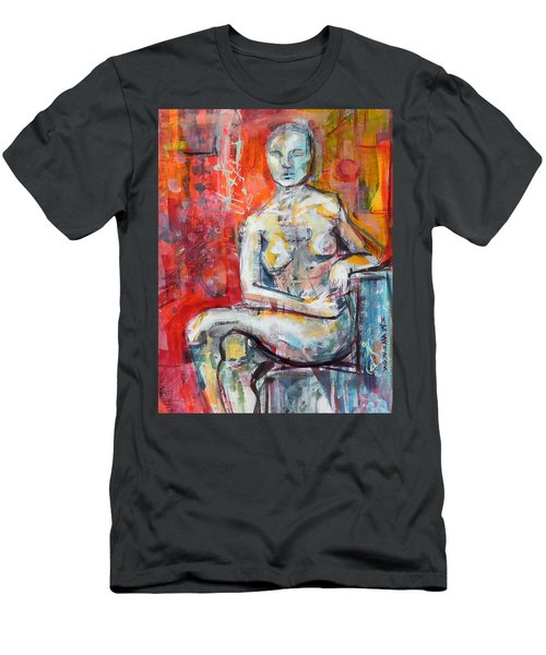 Men's T-Shirt (Slim Fit) featuring the painting Energy In Stillness by Mary Schiros